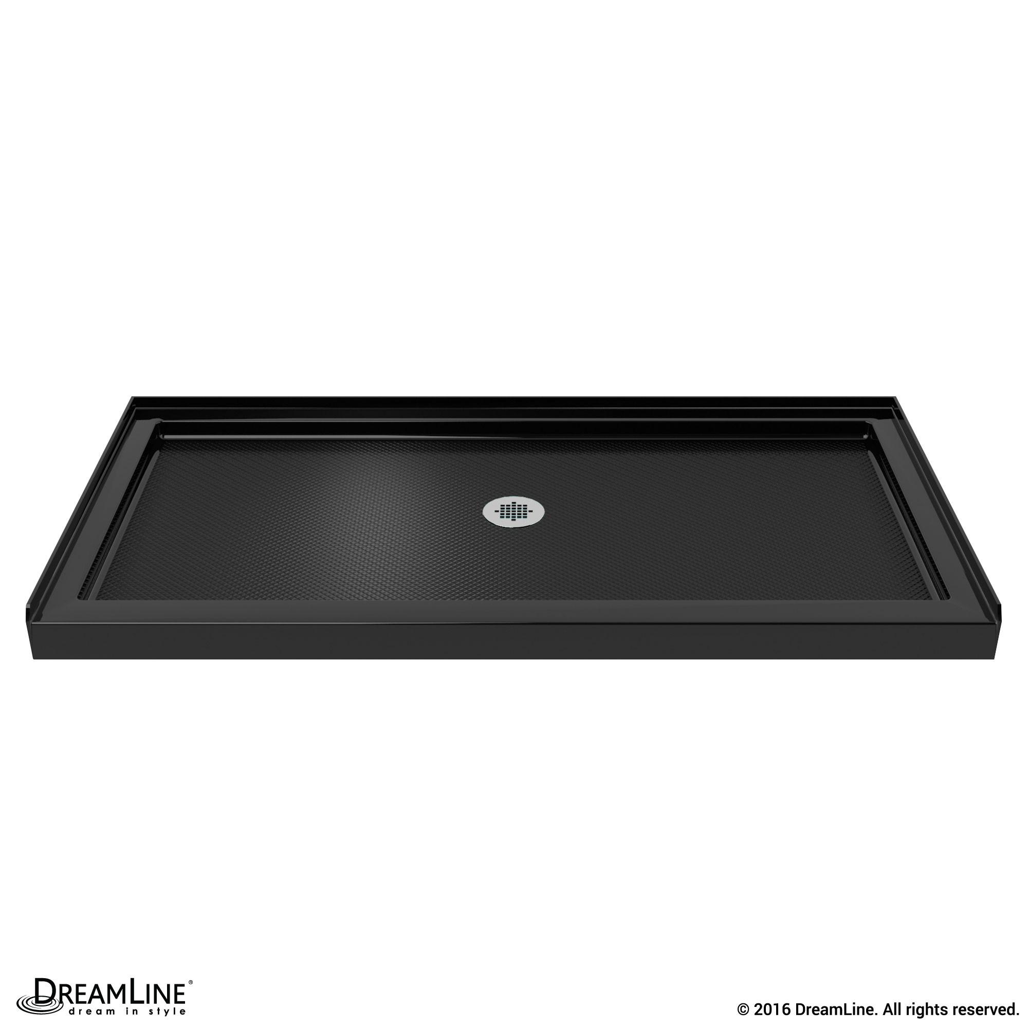 DreamLine DLT-1136600-88 SlimLine 36 Inch by 60 Inch Single Threshold Shower Base In Black Color Center Drain