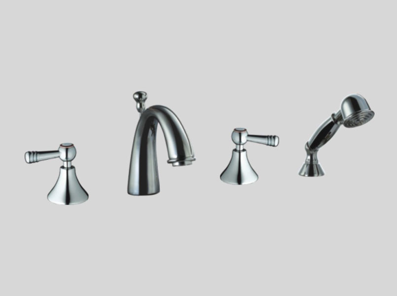 Dawn DS12 2119 Goose Neck 4-Hole Tub Filler + Hand Held
