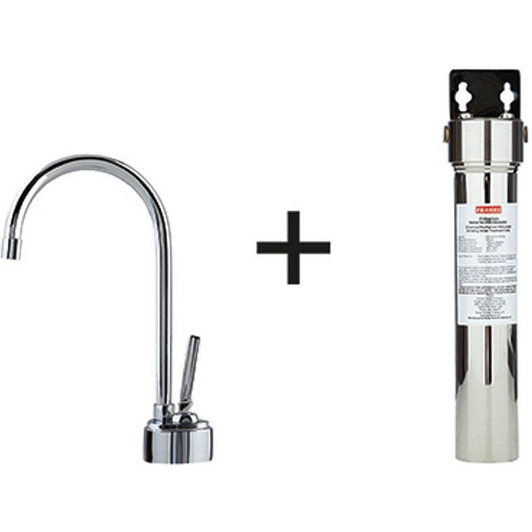 Franke DW8080-FRC Twin Single Hole Kitchen Faucet in Satin Nickel with Filter Canister