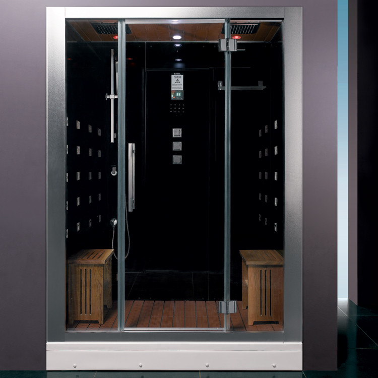 Ariel DZ972-1F8-BLK Two Person Modern Steam Shower With Computer Control Timer In Black