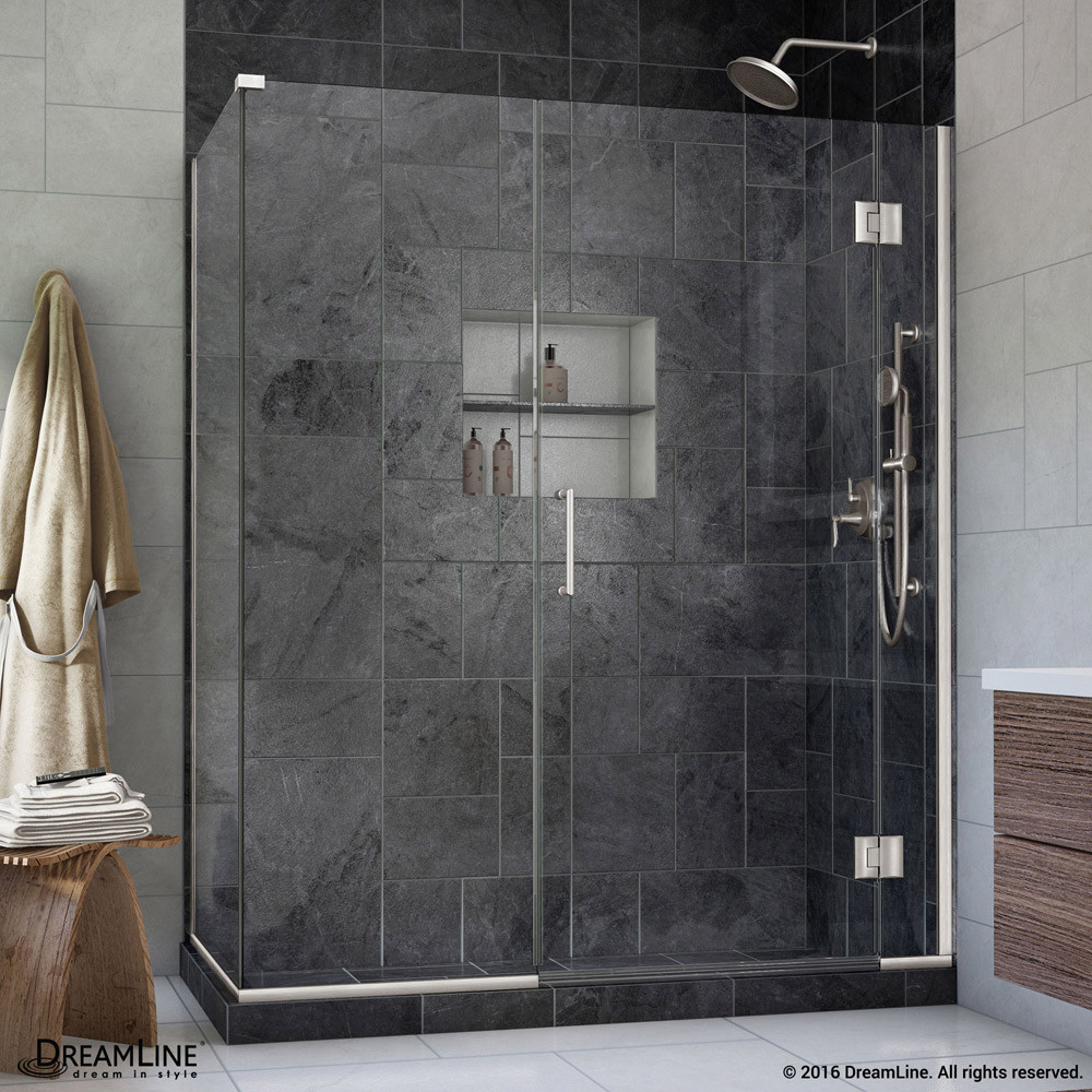 DreamLine E1230630-04 Unidoor-X Hinged Frameless Shower Enclosure In Brushed Nickel Finish