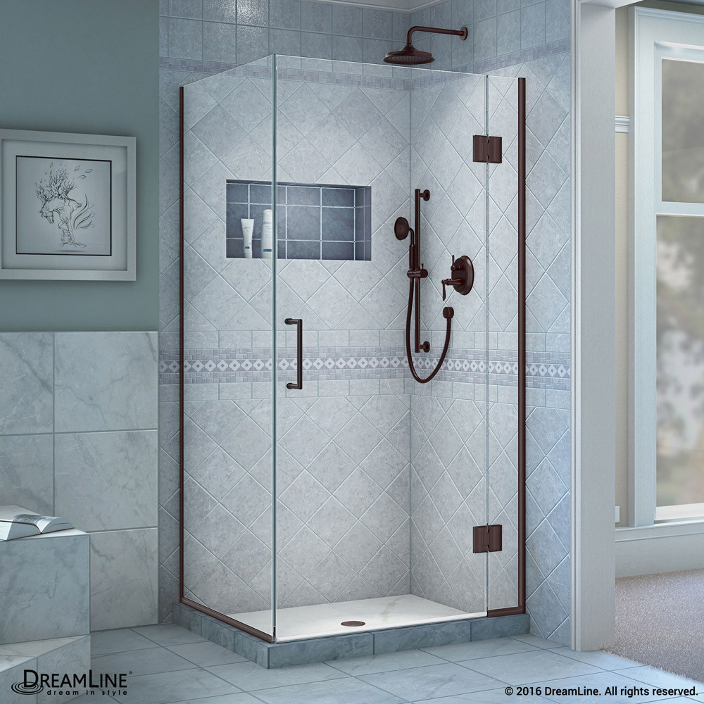 DreamLine E12330-06 Unidoor-X Hinged Shower Enclosure In Oil Rubbed Bronze Finish