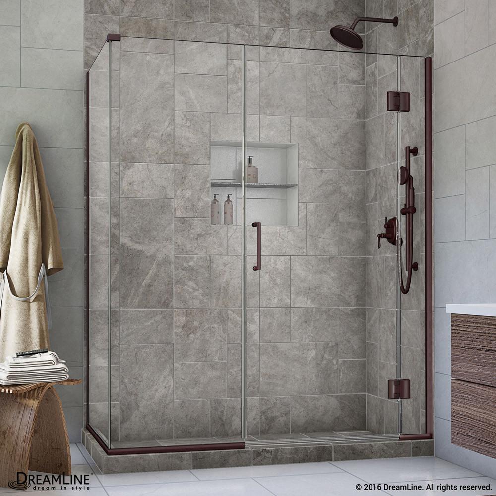DreamLine E1233034-06 Unidoor-X Hinged Shower Enclosure In Oil Rubbed Bronze Finish