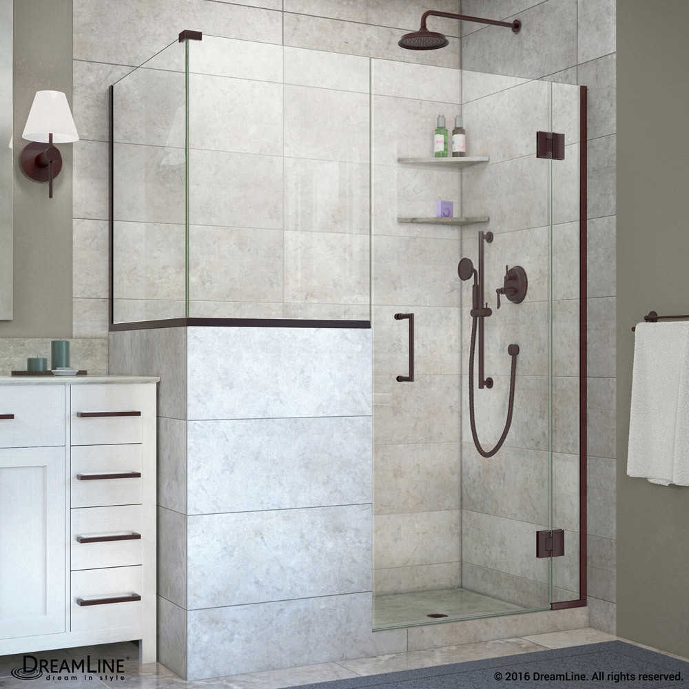 DreamLine E123303436-06 Unidoor-X Hinged Shower Enclosure In Oil Rubbed Bronze Finish