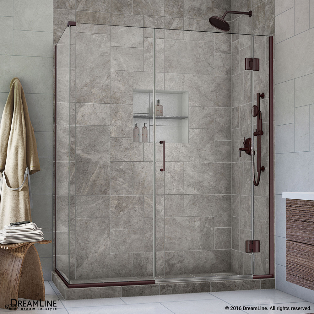 DreamLine E12330534-06 Oil Rubbed Bronze 59.5 in. W x 34.375 in. D x 72 in. H Hinged Shower Enclosure