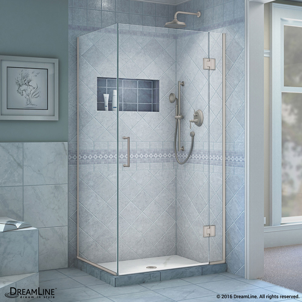 "DreamLine E12334-04 Unidoor-X 29-3/8 x 34 x 72"" Hinged Shower Enclosure In Brushed Nickel Finish"