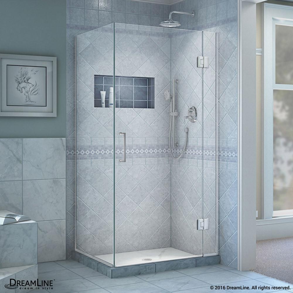 "DreamLine E12734-01 Unidoor-X 33-3/8 x 34 x 72"" Hinged Shower Enclosure In Chrome Finish"