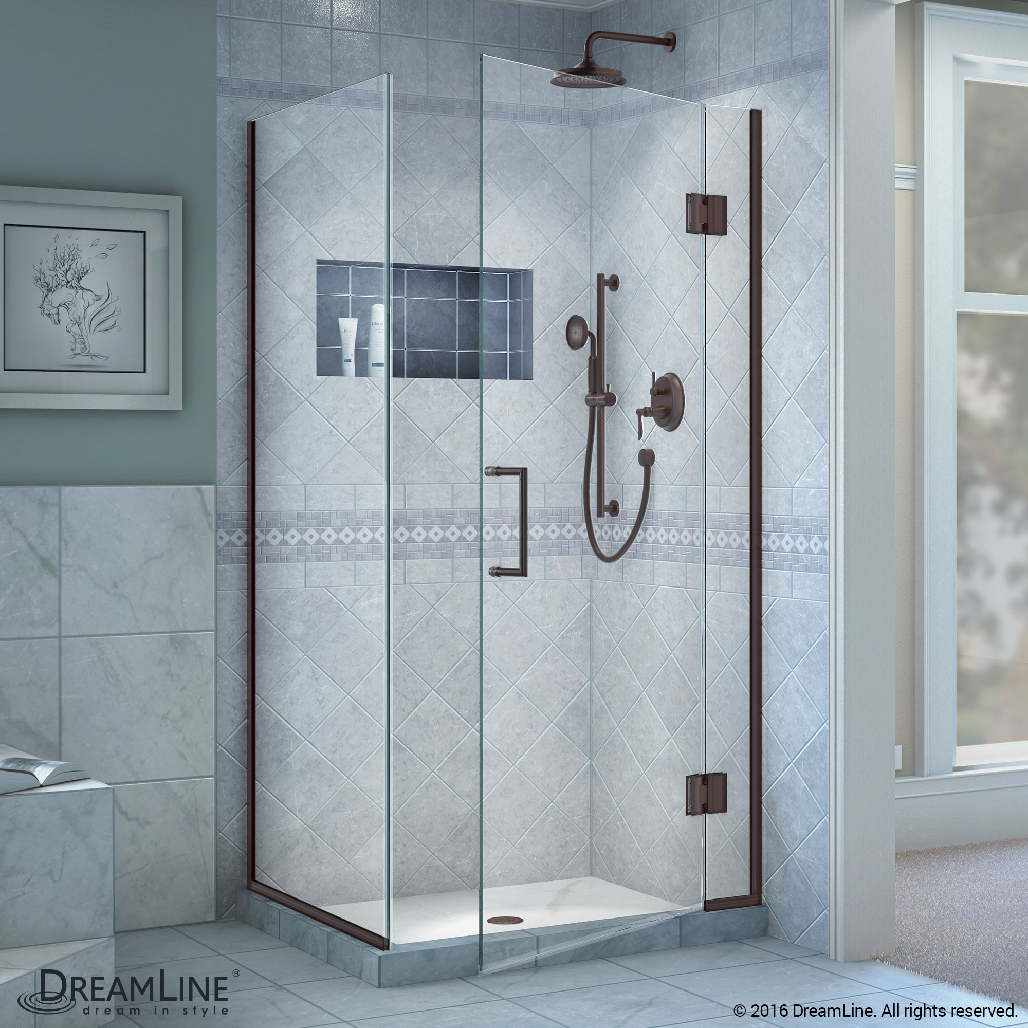 DreamLine E12834-06 Unidoor-X Hinged Shower Enclosure In Oil Rubbed Bronze Finish