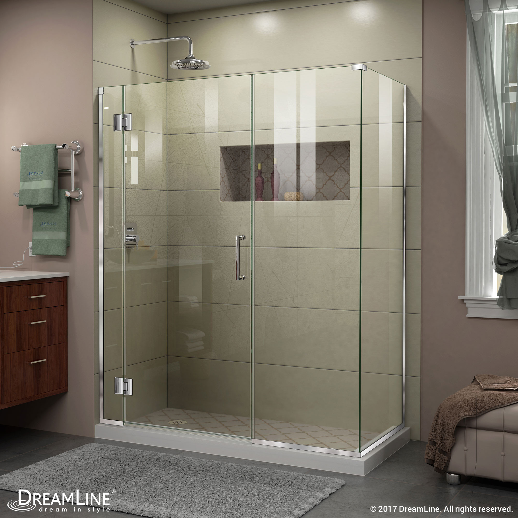 DreamLine E1292230 Unidoor-X 57 in. W x 30.375 in. D x 72 in. H Hinged Shower Enclosure