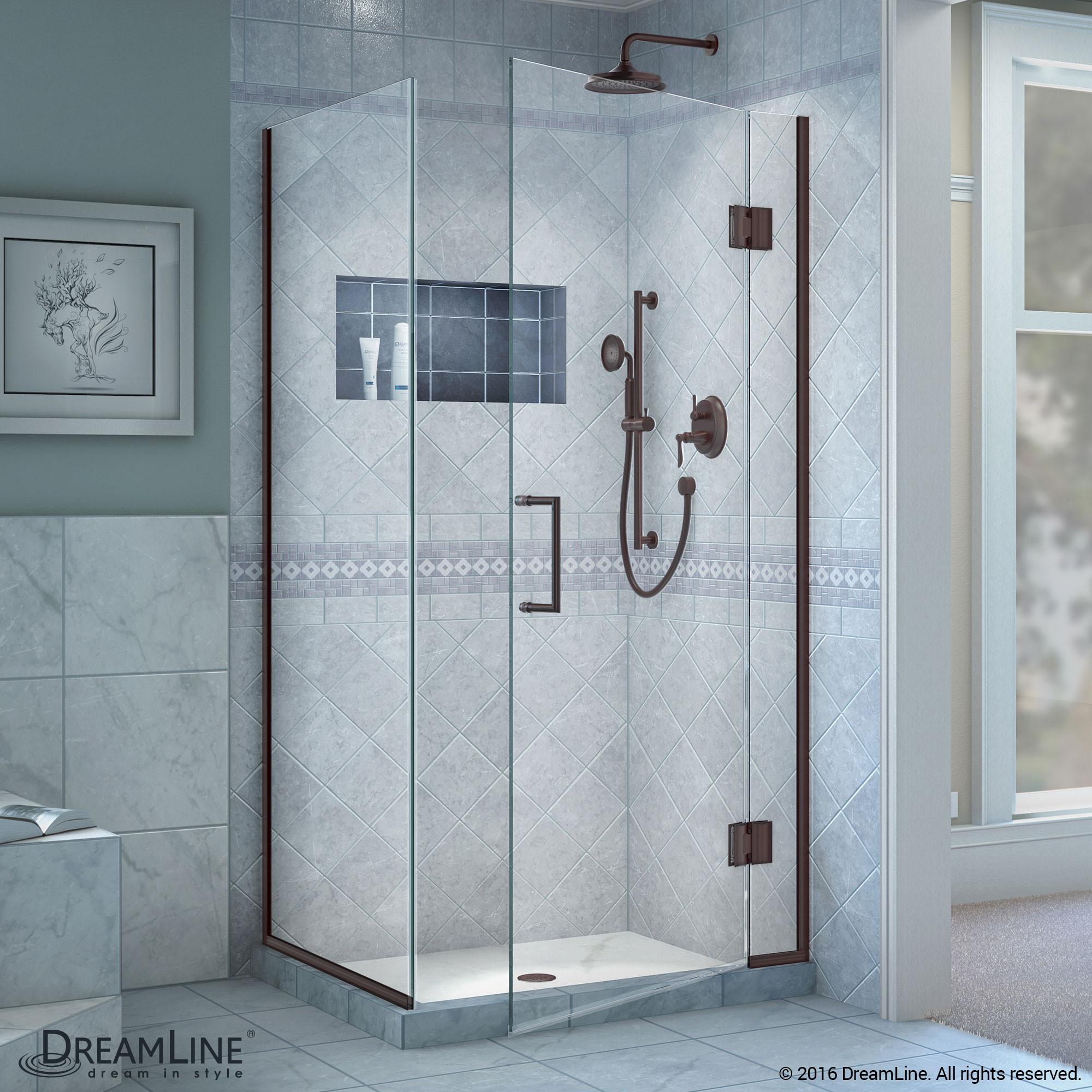DreamLine E12930-06 Unidoor-X Hinged Shower Enclosure In Oil Rubbed Bronze Finish