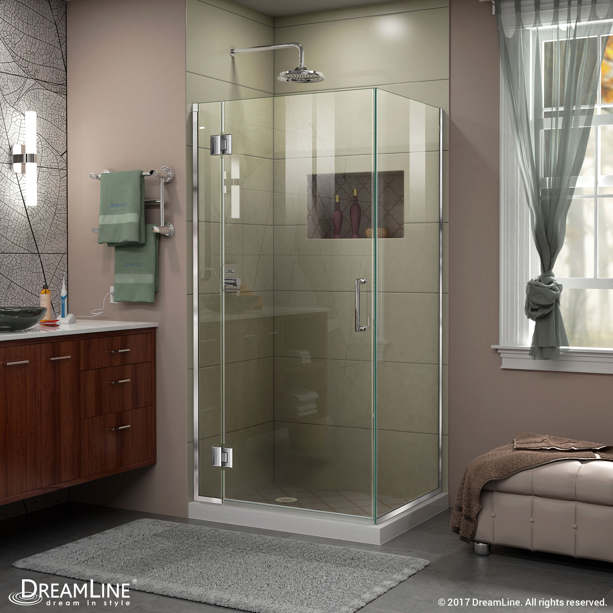 DreamLine E12934-01 Chrome 35-3/8 in. W x 34 in. D x 72 in. H Hinged Shower Enclosure