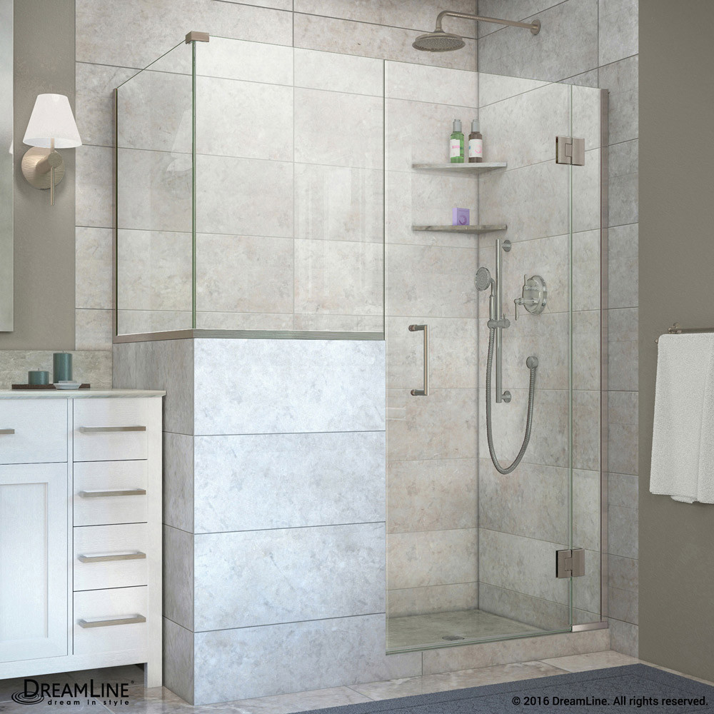 DreamLine E130243436-04 Brushed Nickel 60 in. W x 36.375 in. D x 72 in. H Hinged Shower Enclosure