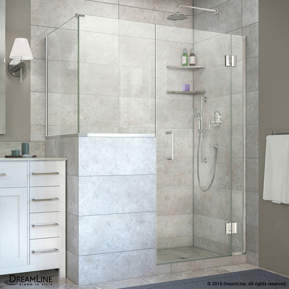 DreamLine E130243636-01 Chrome 60 in. W x 36.375 in. D x 72 in. H Hinged Shower Enclosure