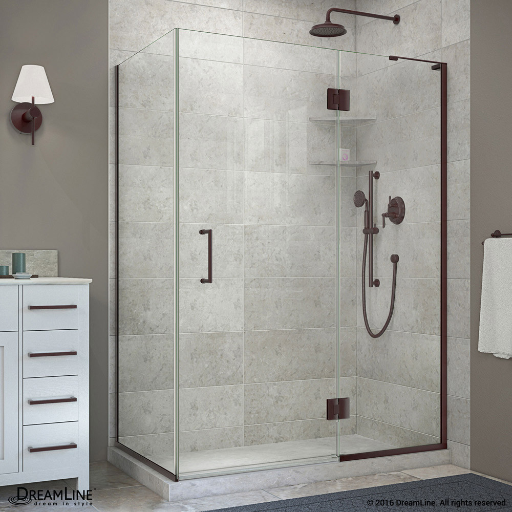 DreamLine E32334R-06 Hinged Shower Enclosure In Oil Rubbed Bronze Finish With Right-wall Bracket