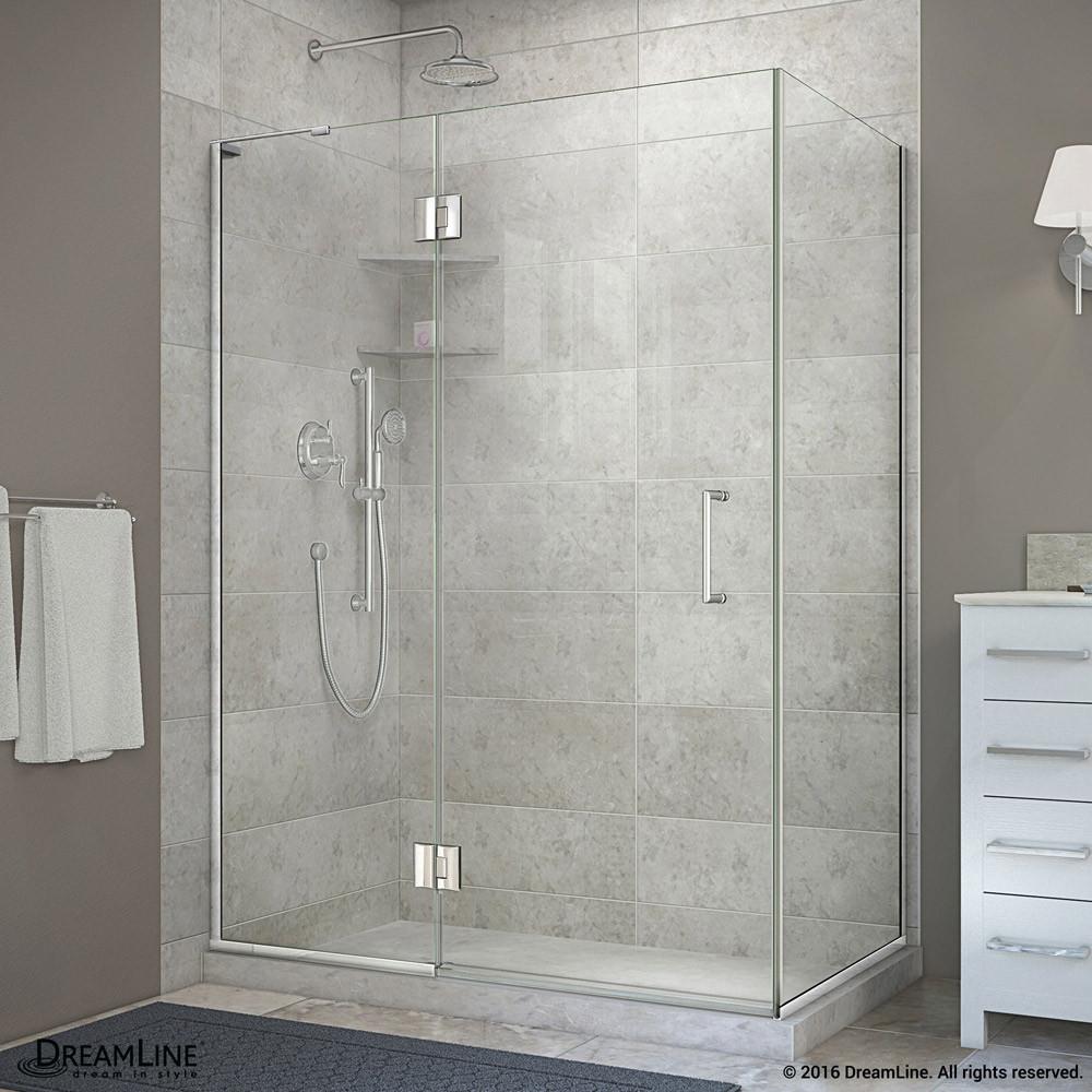 "DreamLine E32430L-01 Chrome 48-3/8 x 30 x 72"" Hinged Shower Enclosure With Left-wall Bracket"