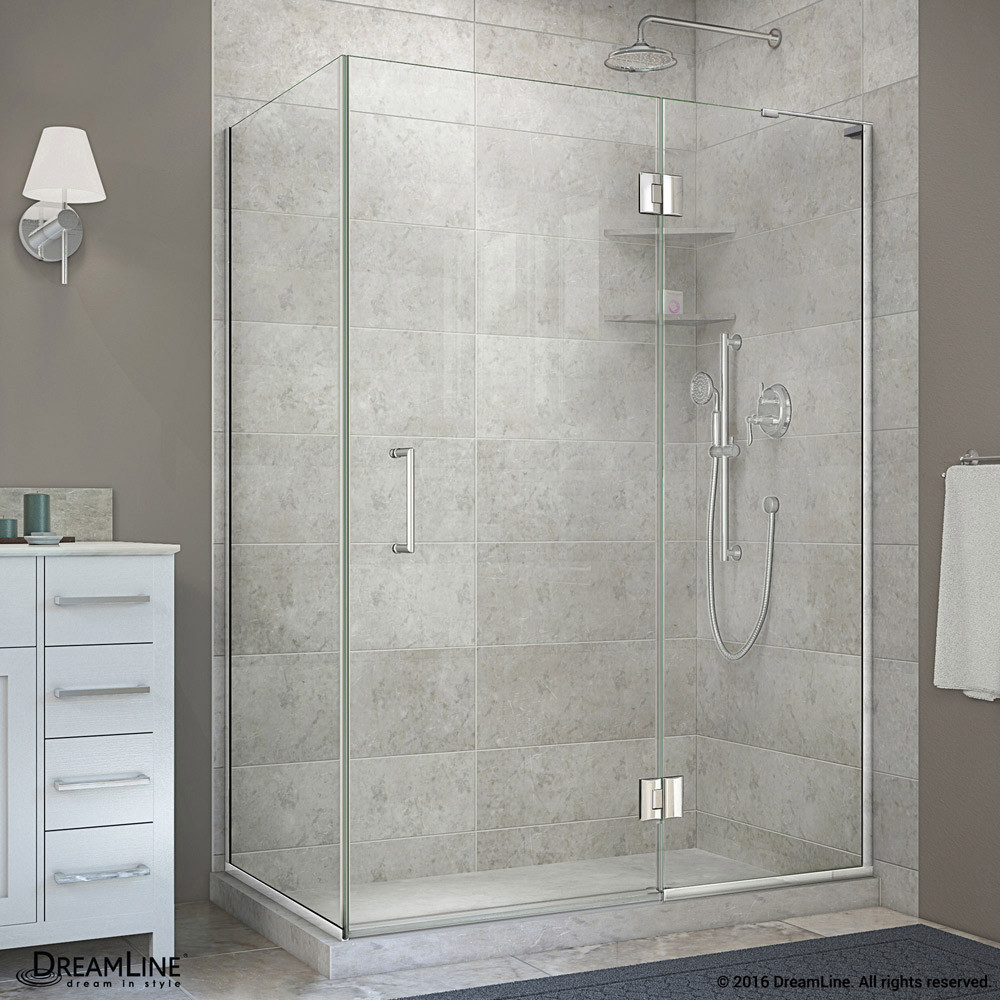 """DreamLine E32434R-01 Chrome 48-3/8 x 34 x 72"""" Hinged Shower Enclosure With Right-wall Bracket"""