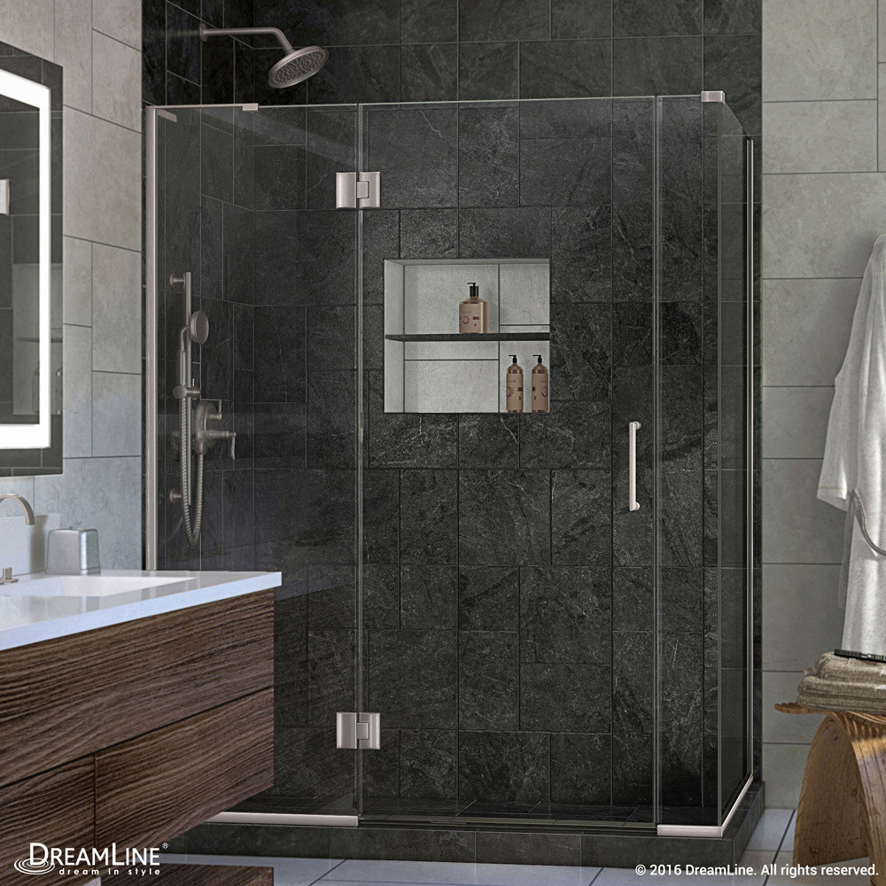 DreamLine E32706530L-04 Hinged Shower Enclosure In Brushed Nickel Finish With Left-wall Bracket