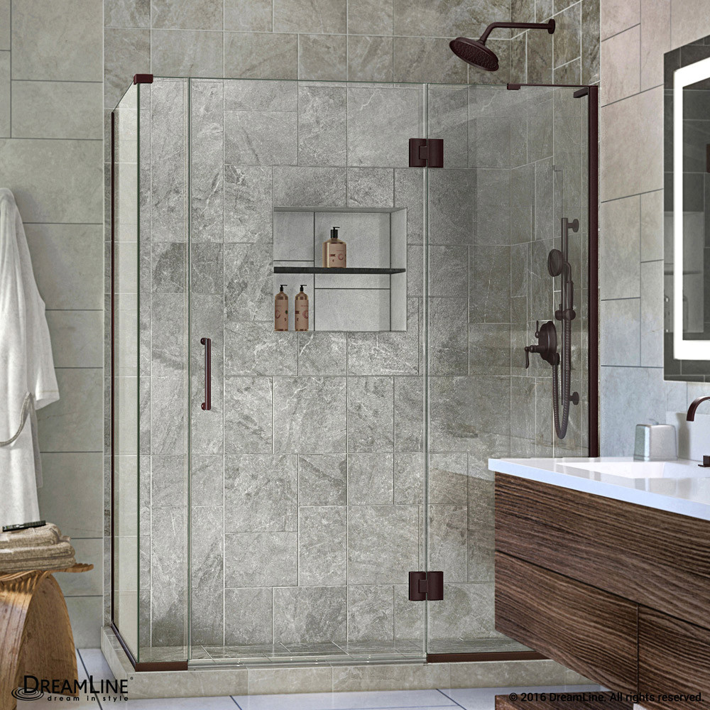 DreamLine E3290634R-06 Hinged Shower Enclosure In Oil Rubbed Bronze Finish With Right-wall Bracket