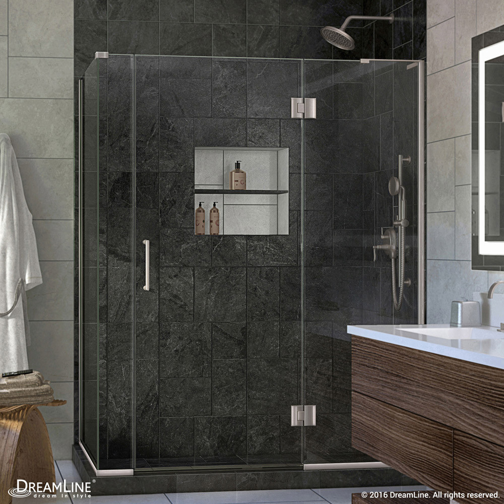 DreamLine E32906530R-04 Hinged Shower Enclosure In Brushed Nickel Finish With Right-wall Bracket