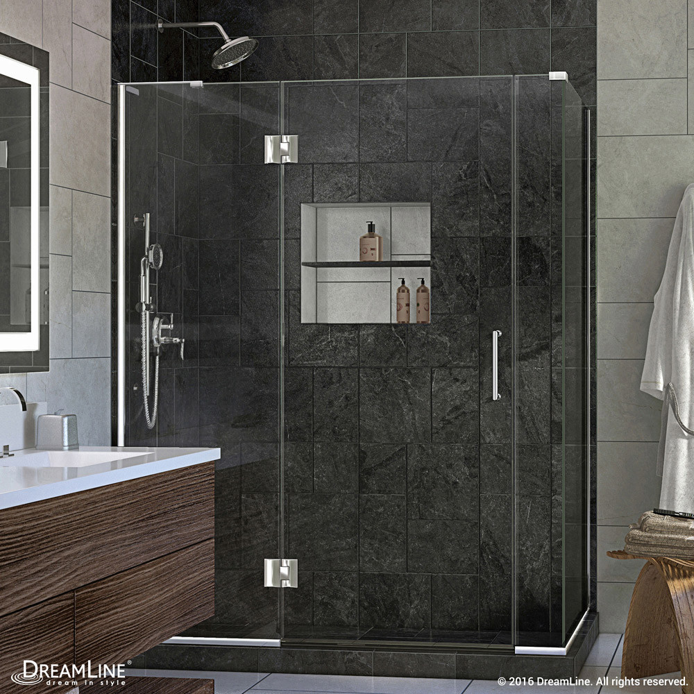 "DreamLine E32906534L-01 Chrome 59.5 x 34.375 x 72"" Hinged Shower Enclosure With Left-wall Bracket"