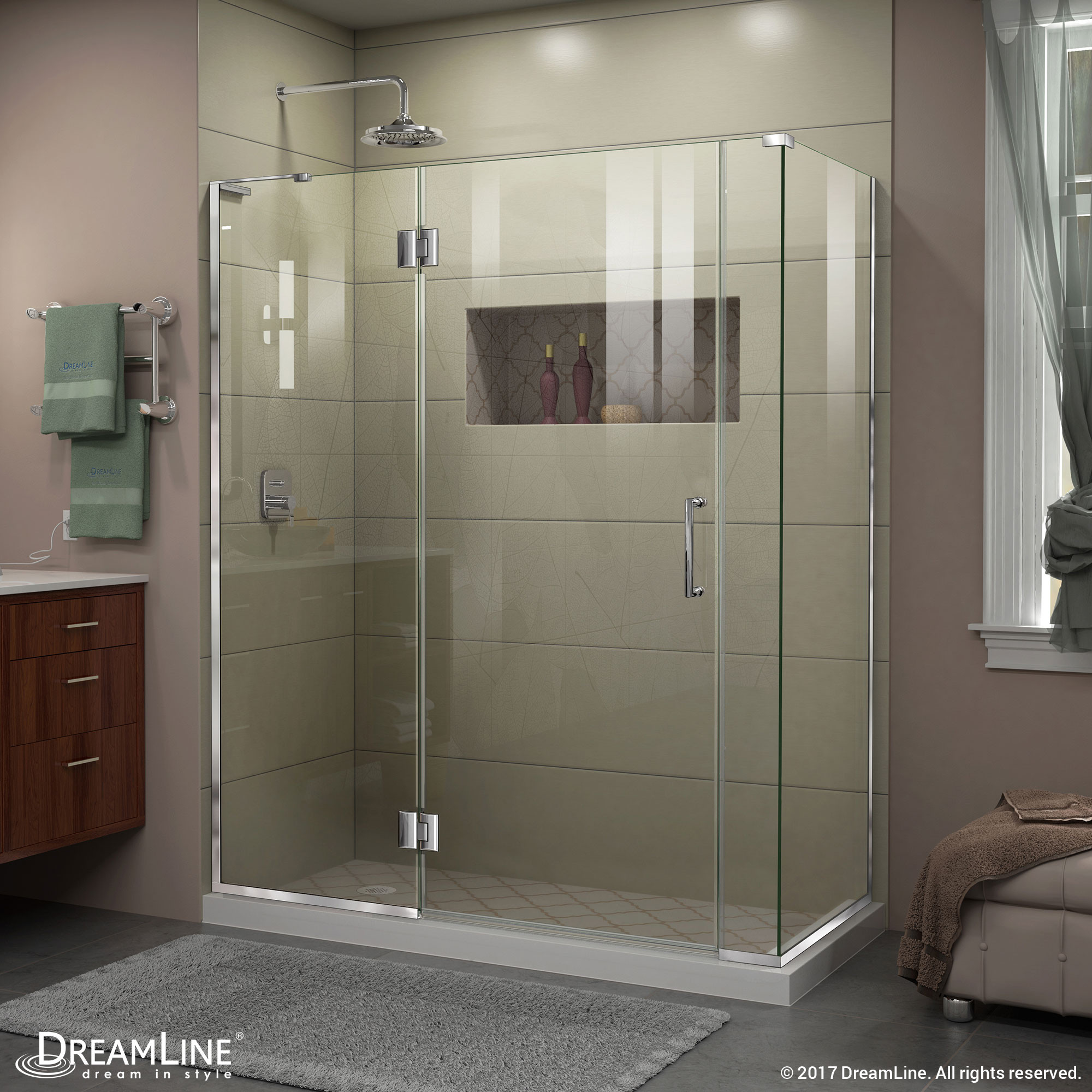 "DreamLine E3300634L-01 Chrome 60 x 34.375 x 72"" Hinged Shower Enclosure With Left-wall Bracket"