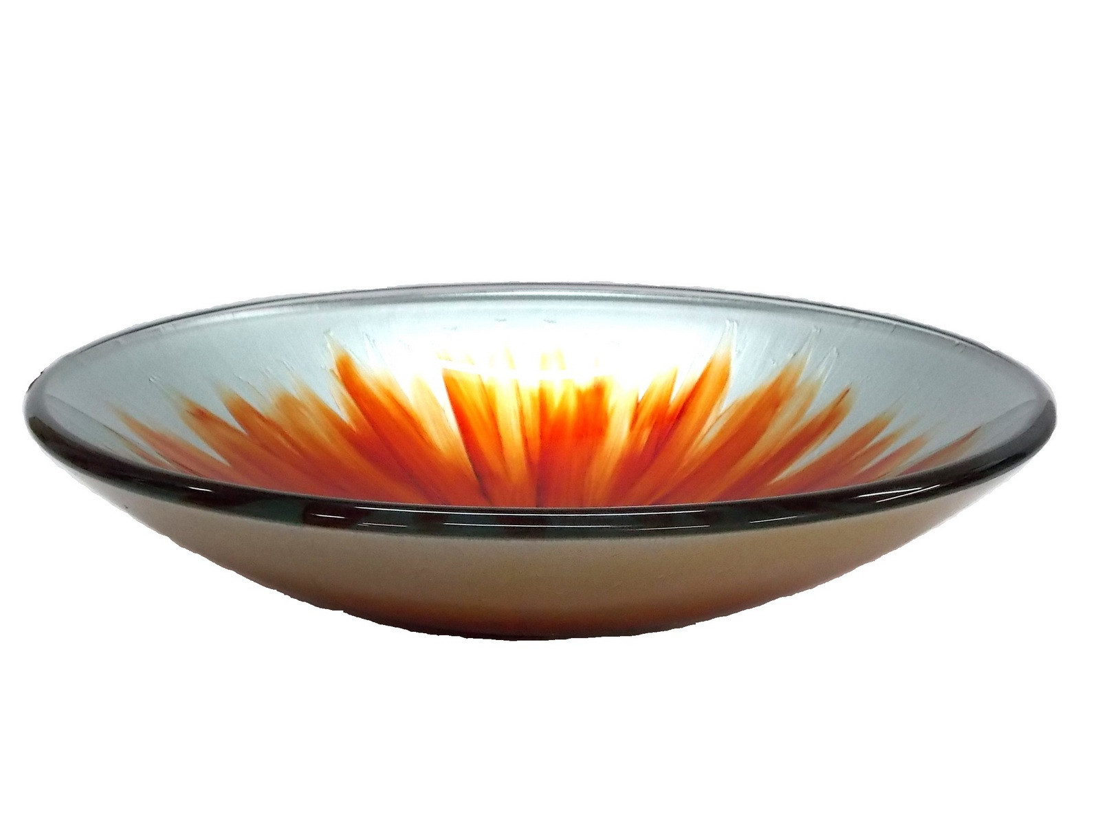 Eden Bath EB_GS38 Blossom Above Mounted Tempered Glass Vessel Sink In Orange