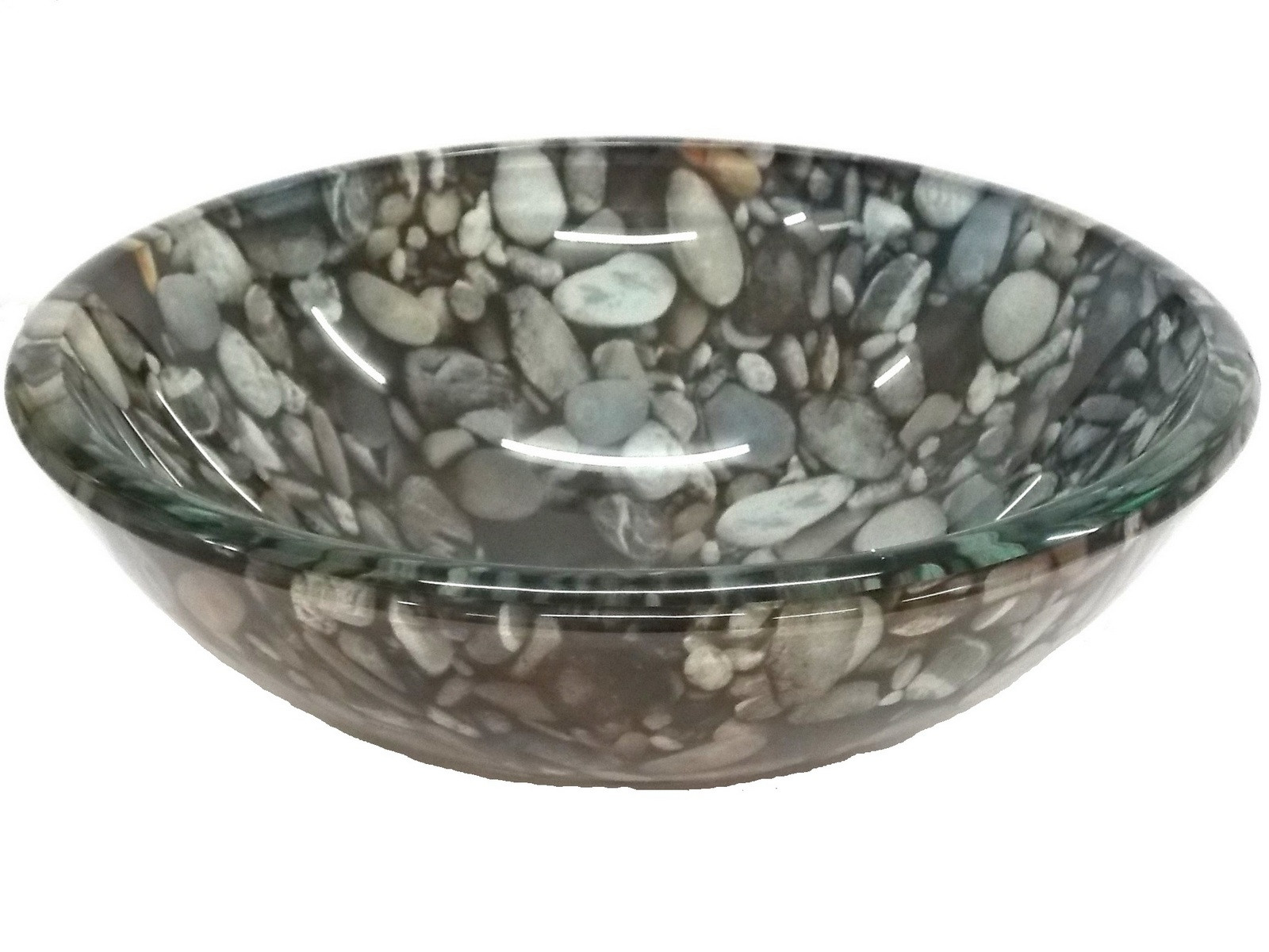 Eden Bath EB_GS39 Single Bowl Natural Pebble Pattern Glass Vessel Sink In Gray