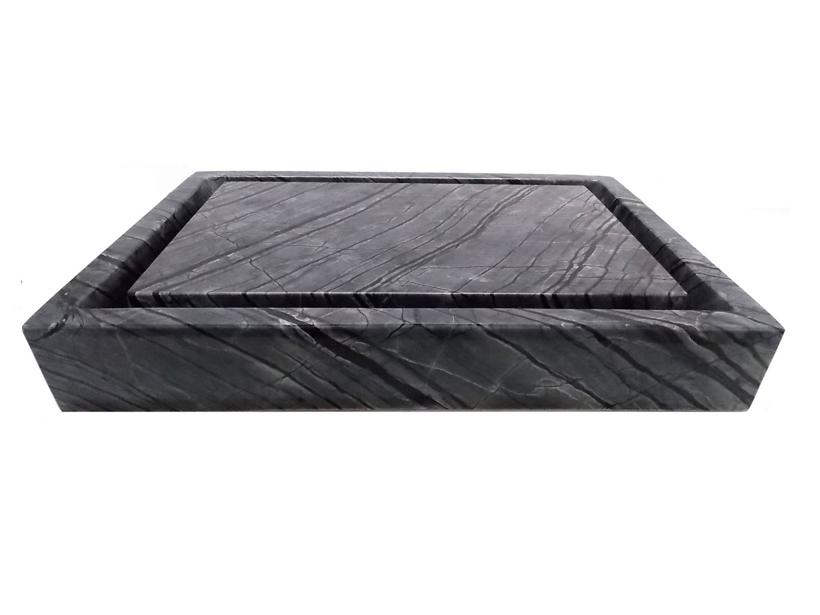 Eden Bath EB_S006WB-P Rectangular Infinity Pool Sink In Wooden Black Marble