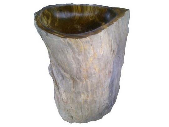 Eden Bath EB_S033PW-P Natural Stone Pedestal Bathroom Sink In Petrified Wood