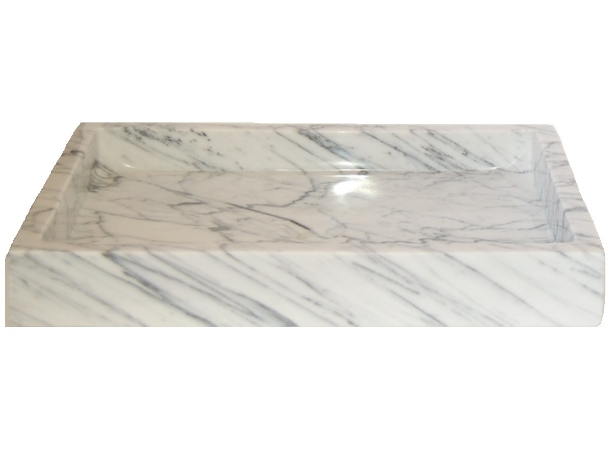 Eden Bath EB_S040CW-P Rectangular Vessel Sink In White Carrara Marble