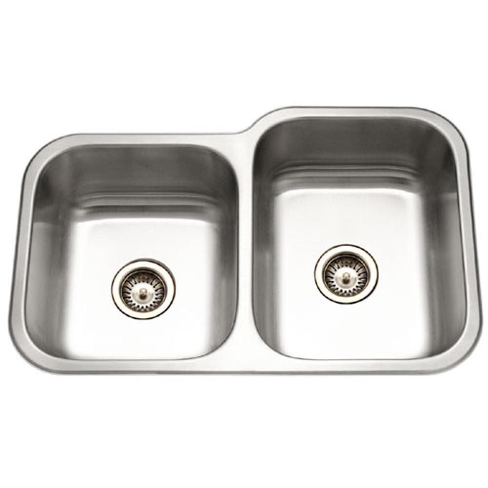 Houzer EC-3208SL-1 Elite Series Undermount Stainless Steel Kitchen Sink With Small Bowl Left