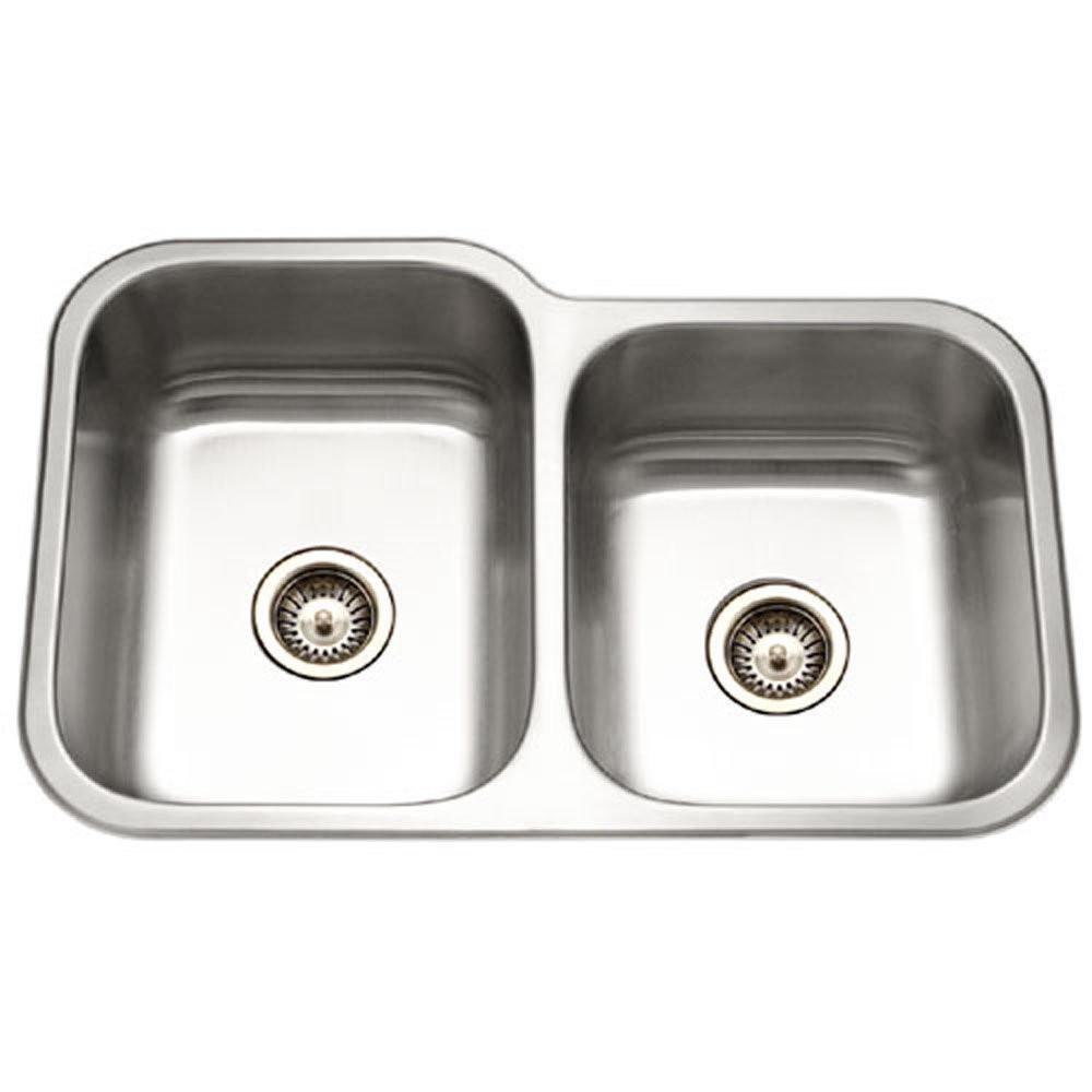 Houzer EC-3208SR-1 Elite Series Undermount Stainless Steel Kitchen Sink With Small Bowl Right