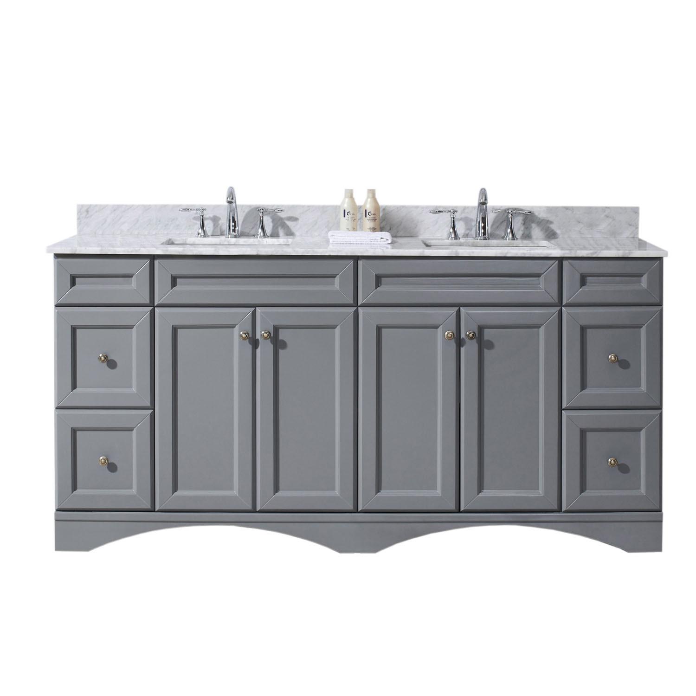 Virtu ED-25072-WMSQ-GR-NM Talisa 72 Inch Double Bathroom Vanity Set In Grey