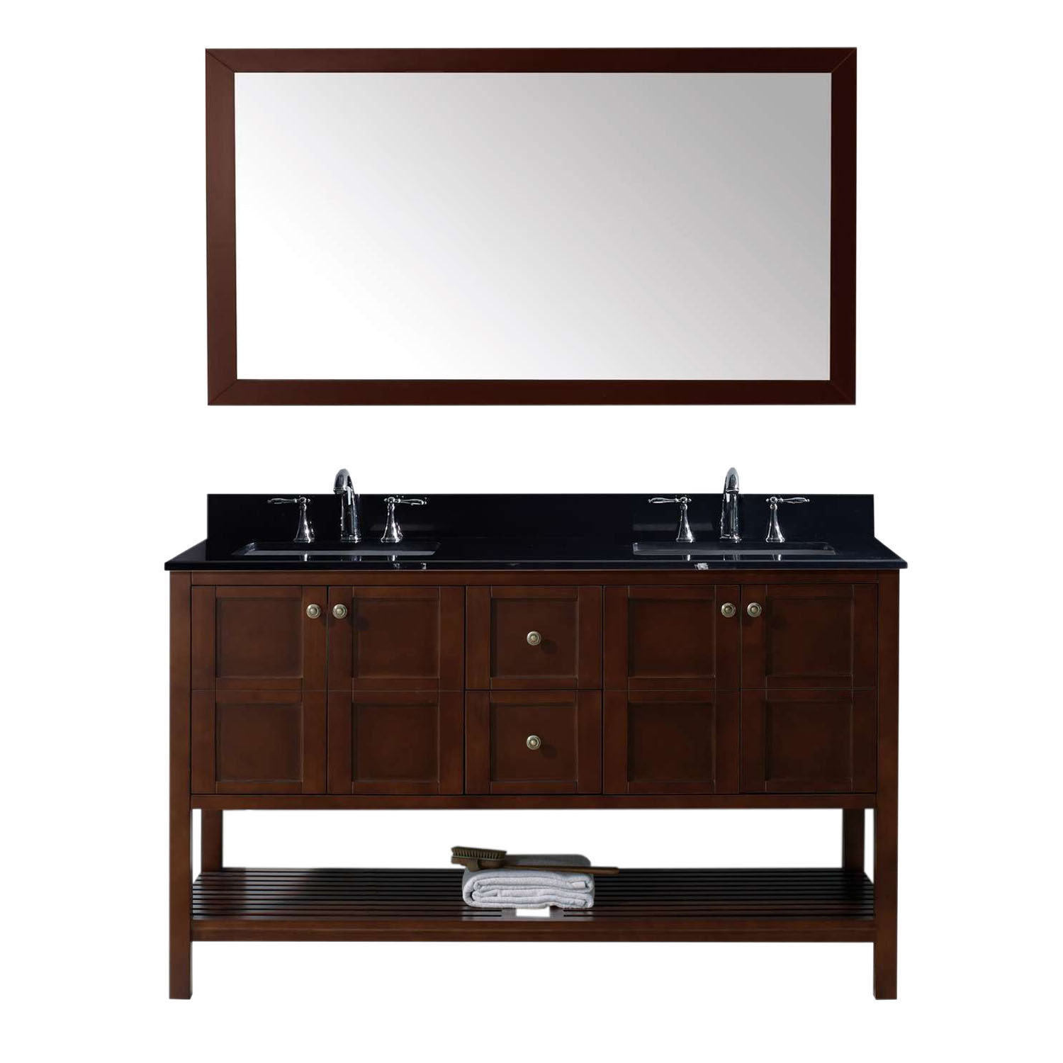 Virtu ED-30060-BGSQ-CH Winterfell 60 Inch Double Bathroom Vanity Set In Cherry