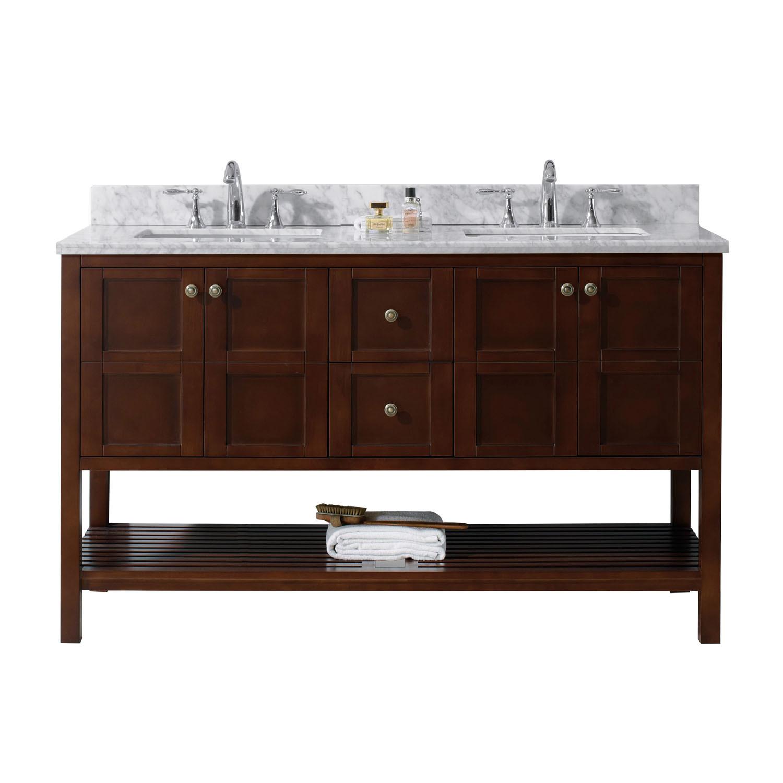 Virtu ED-30060-WMSQ-CH-NM Winterfell 60 Inch Double Bathroom Vanity Set In Cherry