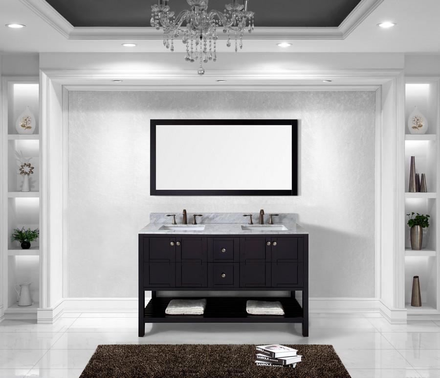 "Virtu ED-30060-WMSQ-ES-001 60"" Espresso Dual Sink Vanity with Faucet"