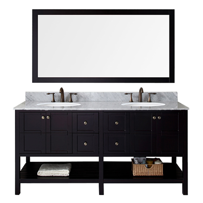 Virtu ED-30072-WMRO-ES Winterfell 72 Inch Double Bathroom Vanity Set In Espresso