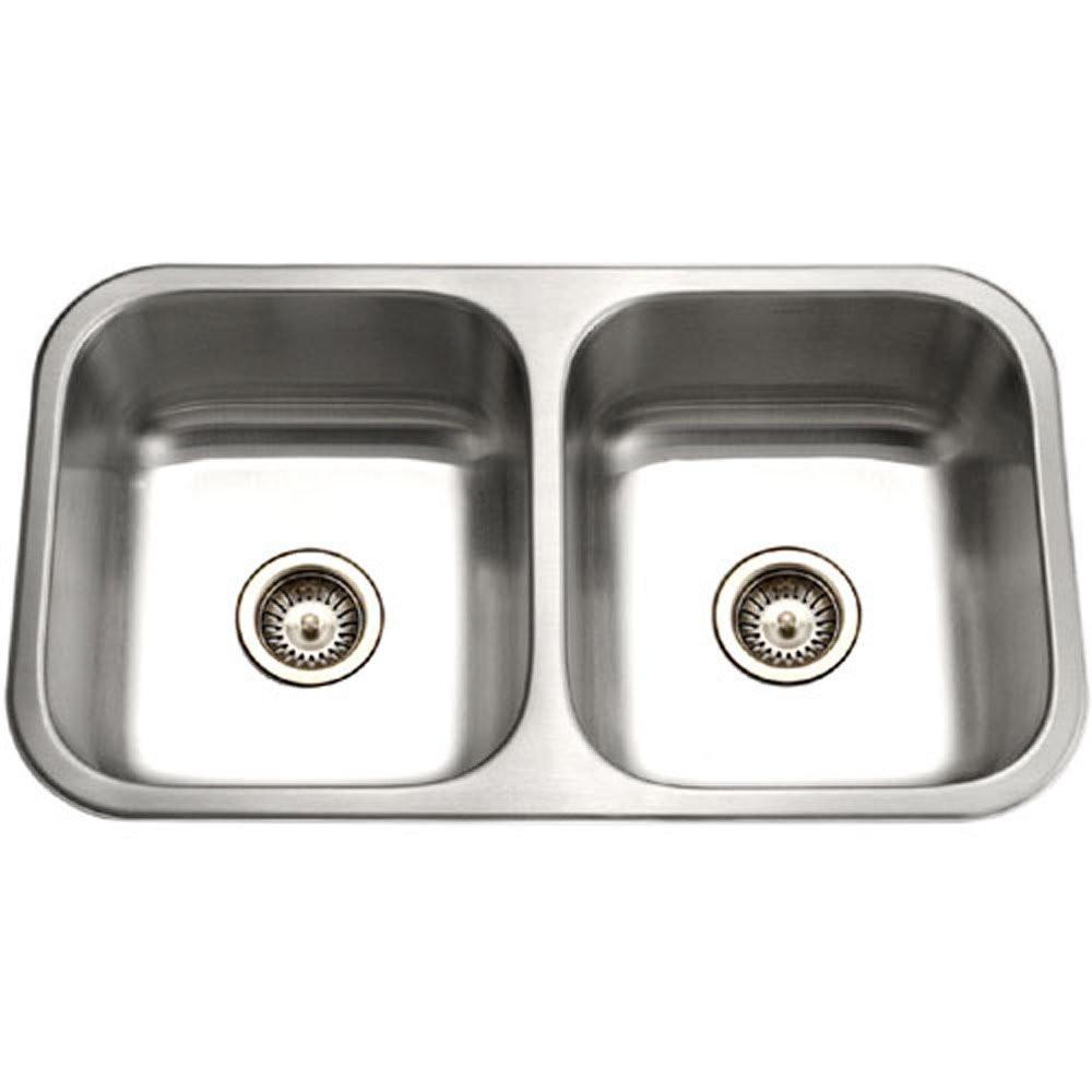 Houzer ED-3108-1 Elite Series Undermount Stainless Steel 50/50 Double Bowl Kitchen Sink
