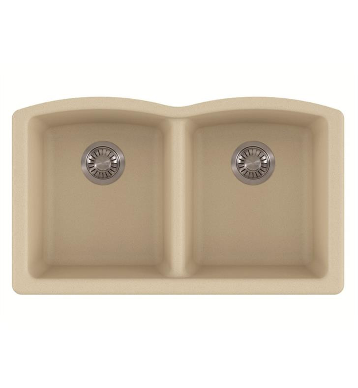 Franke ELG120CHA Ellipse Undermount Double Bowl Granite Kitchen Sink in Champagne