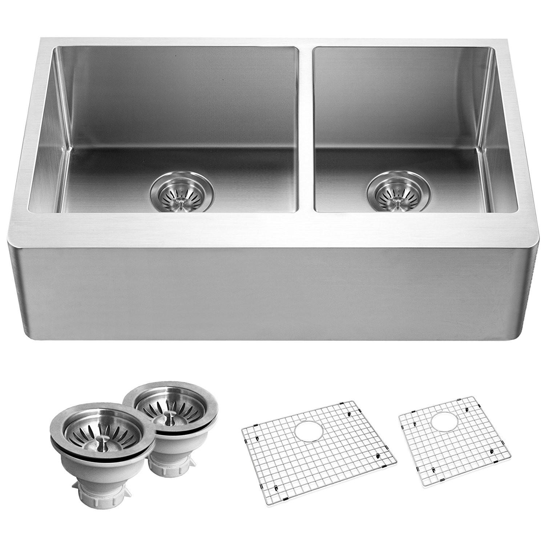 Houzer END-3360SR Epicure Series Apron Front 60/40 Double Bowl Kitchen Sink