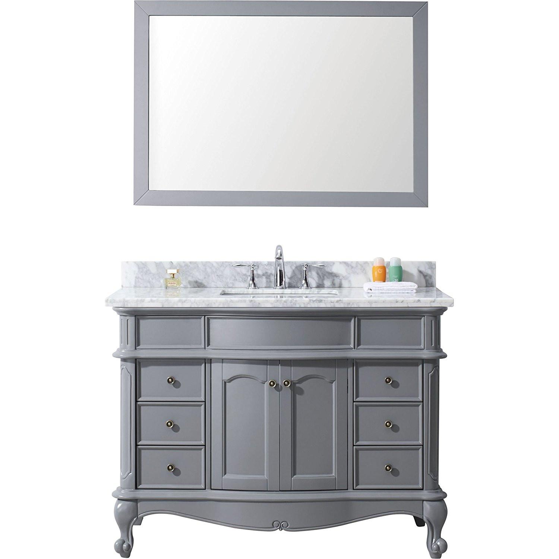 Virtu ES-27048-WMSQ-GR-NM Norhaven 48 Inch Single Bathroom Vanity Set In Grey