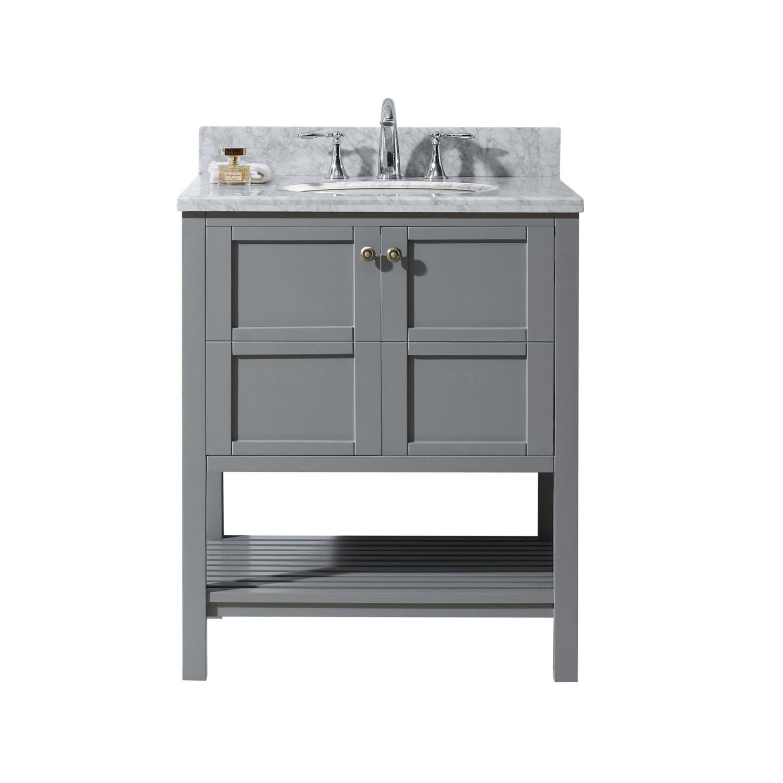 Virtu ES-30030-WMRO-GR-NM Winterfell 30 Inch Single Bathroom Vanity Set In Grey