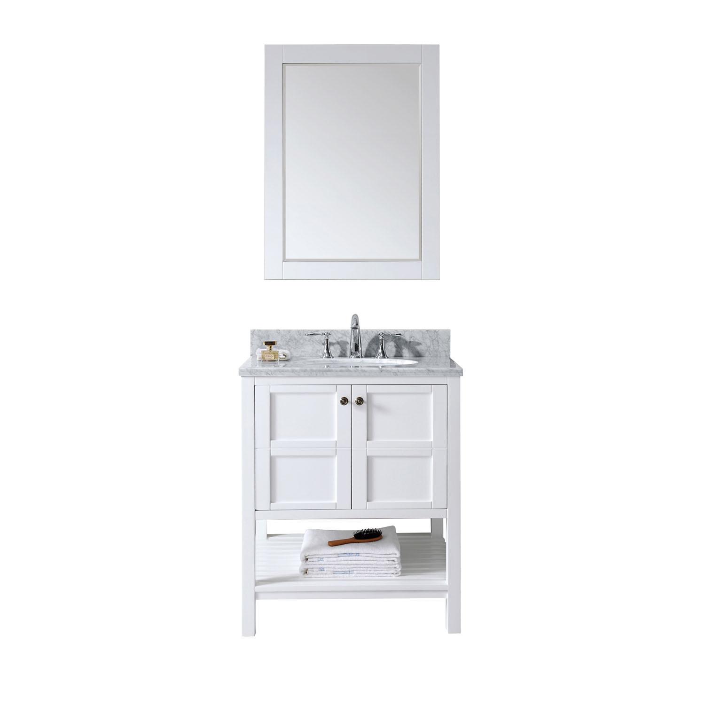 Virtu ES-30030-WMRO-WH Winterfell 30 Inch Single Bathroom Vanity Set In White