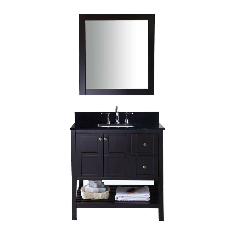 Virtu ES-30036-BGSQ-ES Winterfell 36 Inch Single Bathroom Vanity Set In Espresso