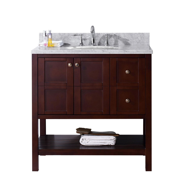 Virtu ES-30036-WMRO-CH-NM Winterfell 36 Inch Single Bathroom Vanity Set In Cherry
