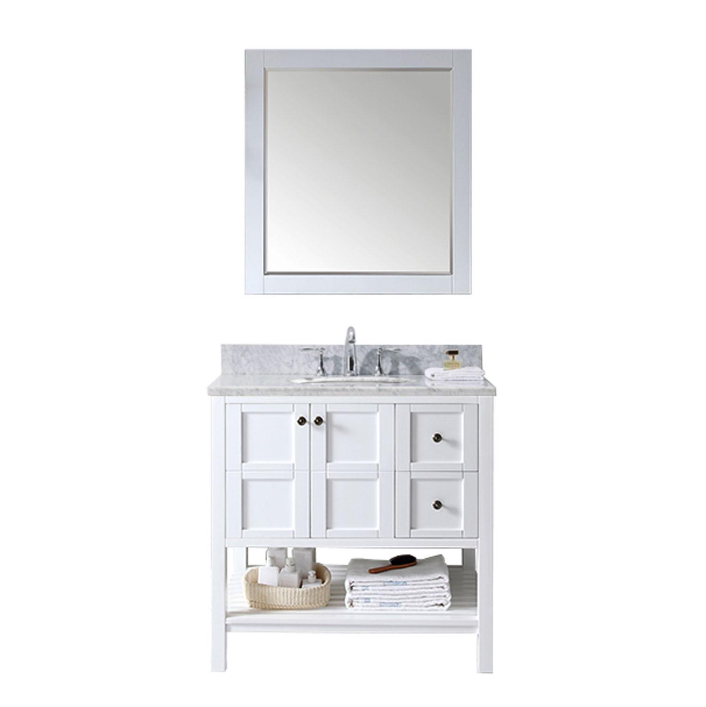 Virtu ES-30036-WMRO-WH Winterfell 36 Inch Single Bathroom Vanity Set In White