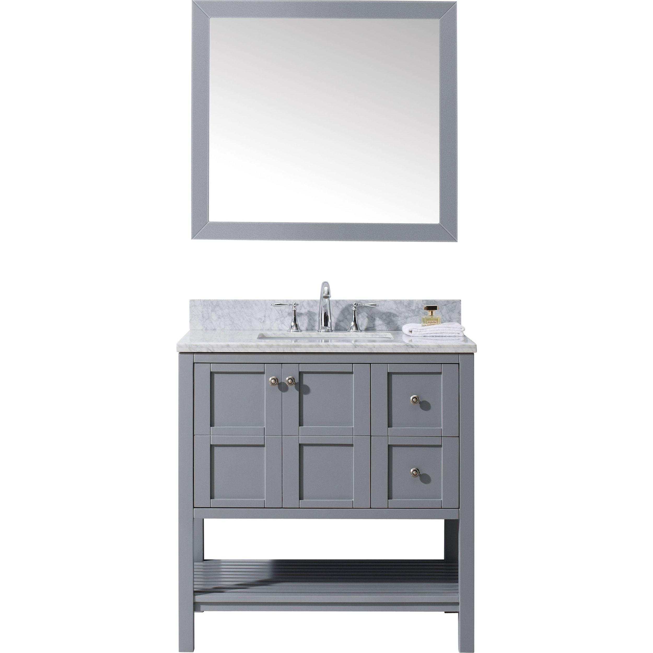 Virtu ES-30036-WMSQ-GR Winterfell 36 Inch Single Bathroom Vanity Set In Grey