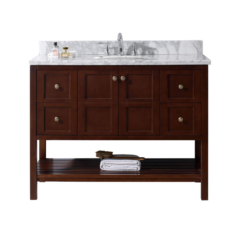 Virtu ES-30048-WMRO-CH-NM Winterfell 48 Inch Single Bathroom Vanity Set In Cherry