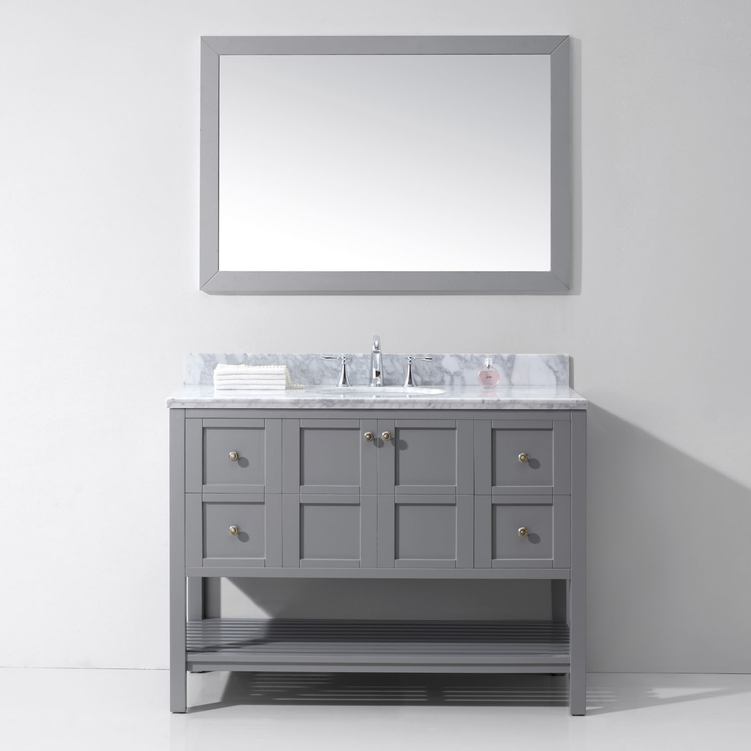 Virtu ES-30048-WMRO-GR Winterfell 48 Inch Single Bathroom Vanity Set In Grey