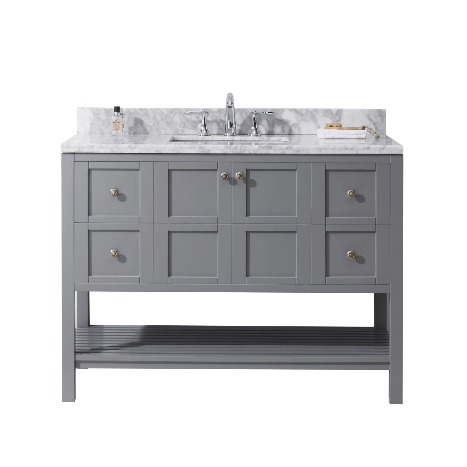 Virtu ES-30048-WMSQ-GR-NM Winterfell 48 Inch Single Bathroom Vanity Set In Grey